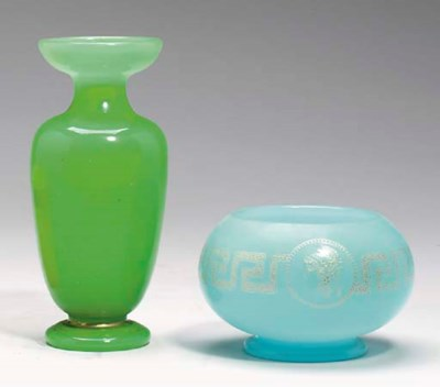A GROUP OF OPALINE GLASS TABLE