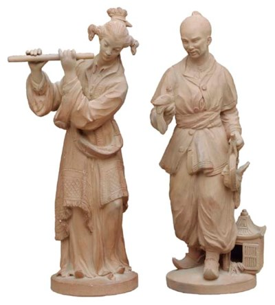 A PAIR OF TERRACOTTA CHINOISER