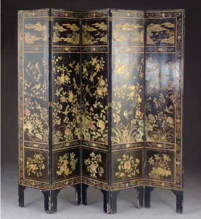 A CHINESE LACQUER FIVE PANEL F