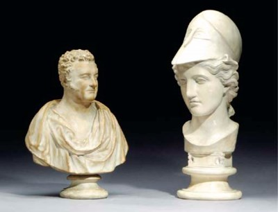 TWO COMPOSITE FIGURAL BUSTS,