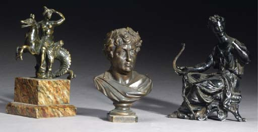 A GROUP OF SIX PATINATED-METAL