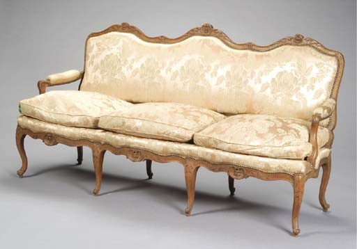 A LOUIS XV WALNUT SETTEE