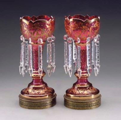A PAIR OF CRANBERRY FLASH GLAS