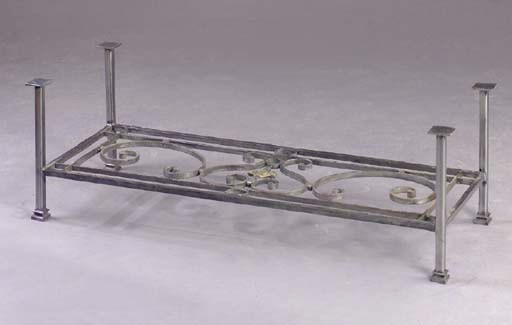 A WROUGHT-IRON LOW TABLE,