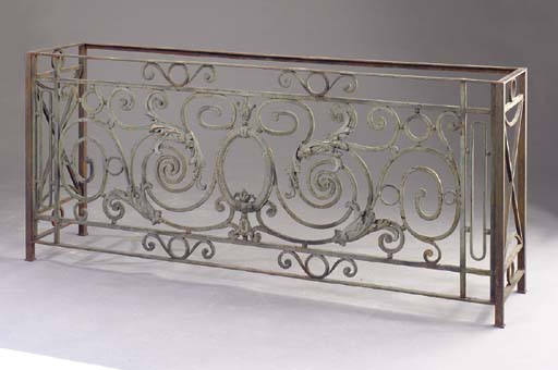 A WROUGHT IRON CONSOLE TABLE,