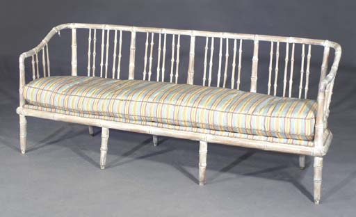A GRAY PAINTED FAUX BAMBOO SET