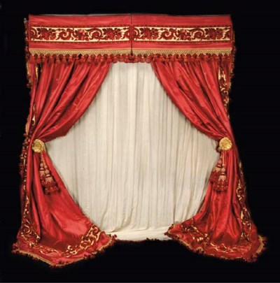 A PAIR OF RED AND GOLD SILK VE