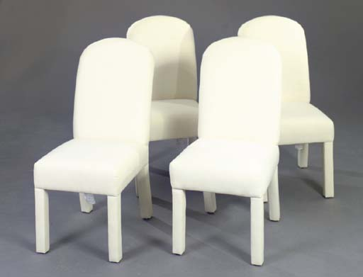 A SET OF FIVE WHITE UPHOLSTERE