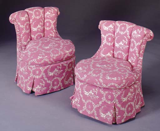 A PAIR OF SLIPPER CHAIRS COVER