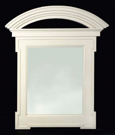 A WHITE-PAINTED OVER-MANTEL MI
