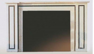 A WHITE MARBLE FIRE SURROUND W