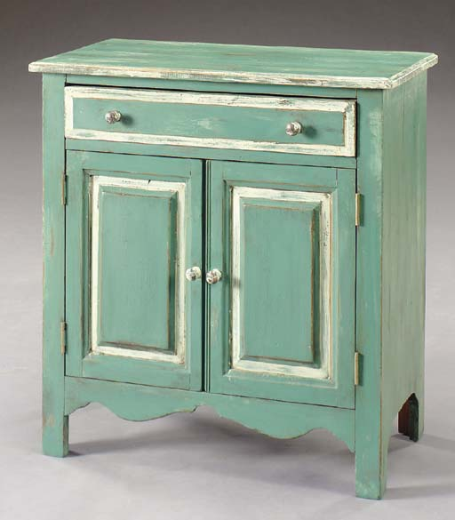 A GREEN-PAINTED PINE SIDE CABI