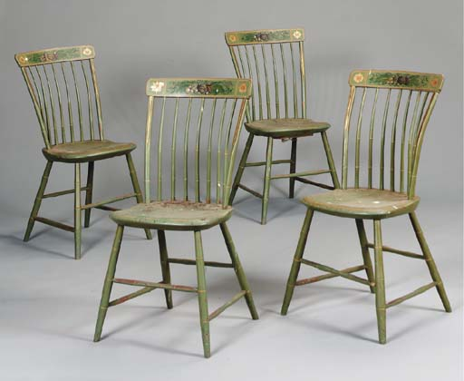 A SET OF FOUR GREEN-PAINTED AN