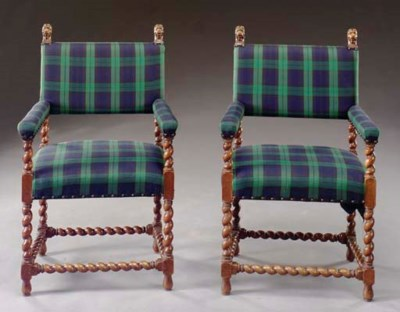A PAIR OF JACOBEAN STYLE WALNU