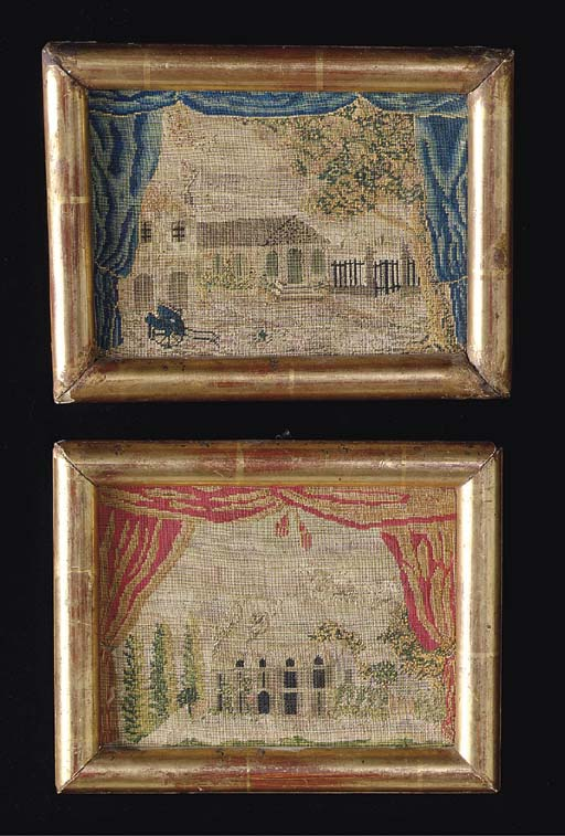 TWO FRAMED NEEDLEWORK SCENES,
