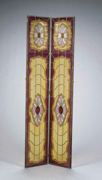 A STAINED-GLASS TWO-PANELED FL