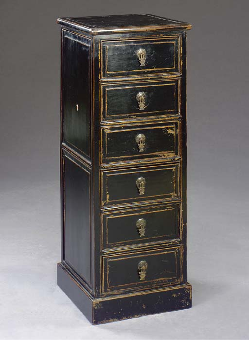 AN ASIAN EBONIZED TALL CHEST-O