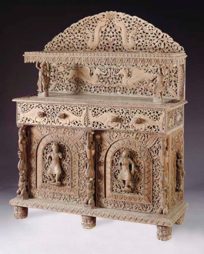 A CARVED WOOD INDIAN SIDEBOARD
