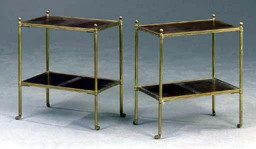 A PAIR OF GILT-METAL AND MAHOG
