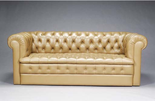 A CHESTERFIELD SOFA UPHOLSTERE