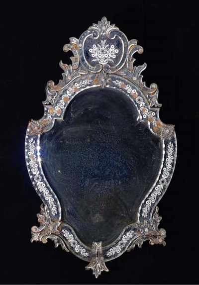 A VENETIAN ETCHED GLASS OVAL W