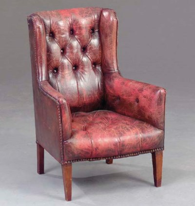 A GEORGE III STYLE LEATHER UPH