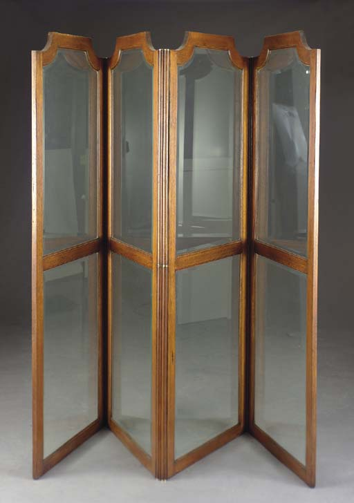 A MOLDED OAK AND GLASS FOUR PA