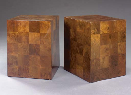 A PAIR OF MAHOGANY PARQUETRY C
