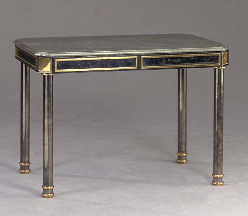 A STEEL AND BRASS WRITING TABL