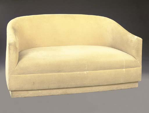A PAIR OF SMALL SOFAS COVERED