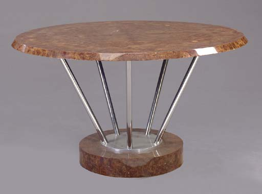 A BURL WOOD AND STEEL DINING T