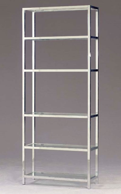 A CHROME AND GLASS ETAGERE,