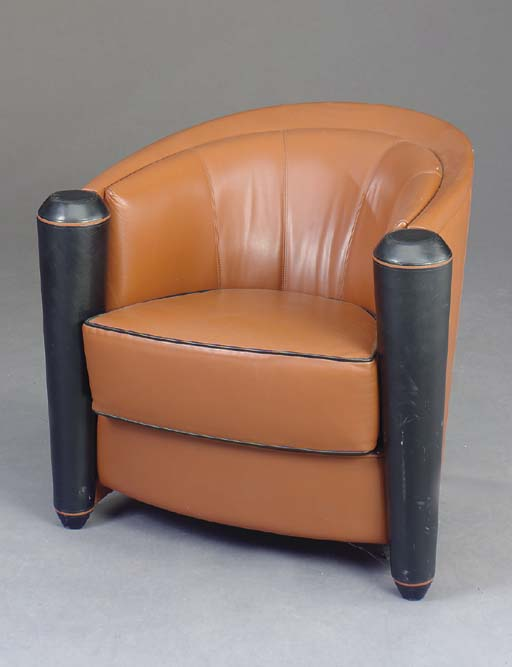 AN ART DECO STYLE BROWN AND BL