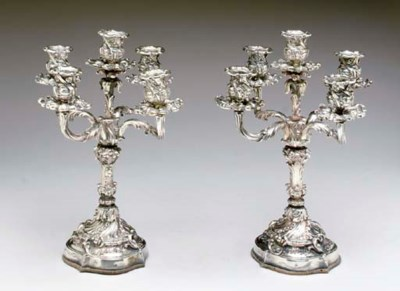 A PAIR OF ITALIAN SILVER FIVE-