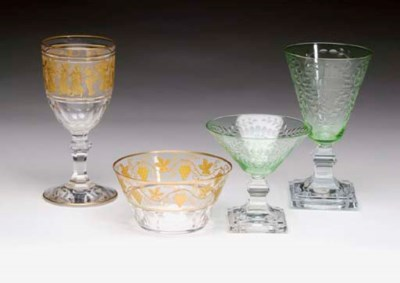 A GREEN AND COLORLESS GLASS PA