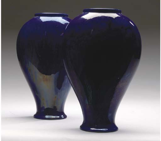 A PAIR OF BLUE-GLAZED EARTHENW