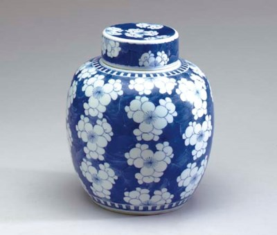 A CHINESE BLUE AND WHITE OVOID