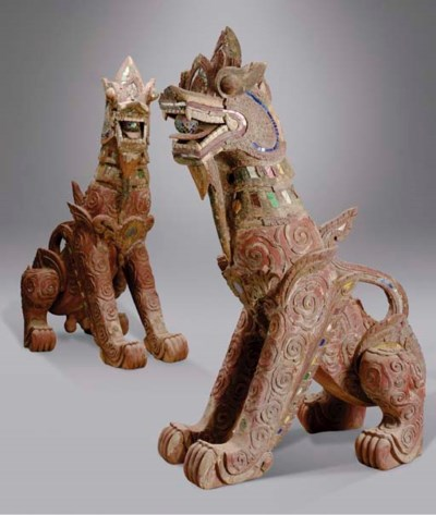 A PAIR OF LARGE THAI PAINTED W