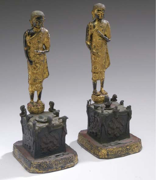 A PAIR OF THAI GILT BRONZE FIG