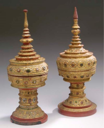 TWO THAI GILTWOOD COVERED VESS