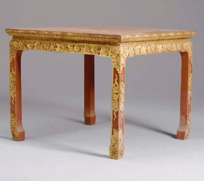 A CHINESE PARCEL-GILT AND RED-