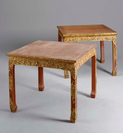 A PAIR OF CHINESE PARCEL-GILT