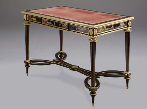 AN ORMOLU MOUNTED LACQUER AND