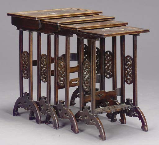 A SET OF FOUR INLAID ASIAN HAR