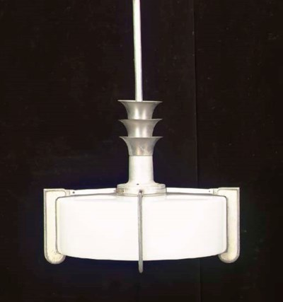 A METAL AND MILK GLASS HANGING