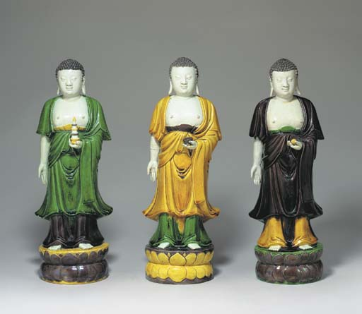 THREE UNUSUAL GLAZED FIGURES O