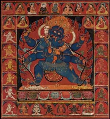 A Thangka of Vajrapani Mahacha