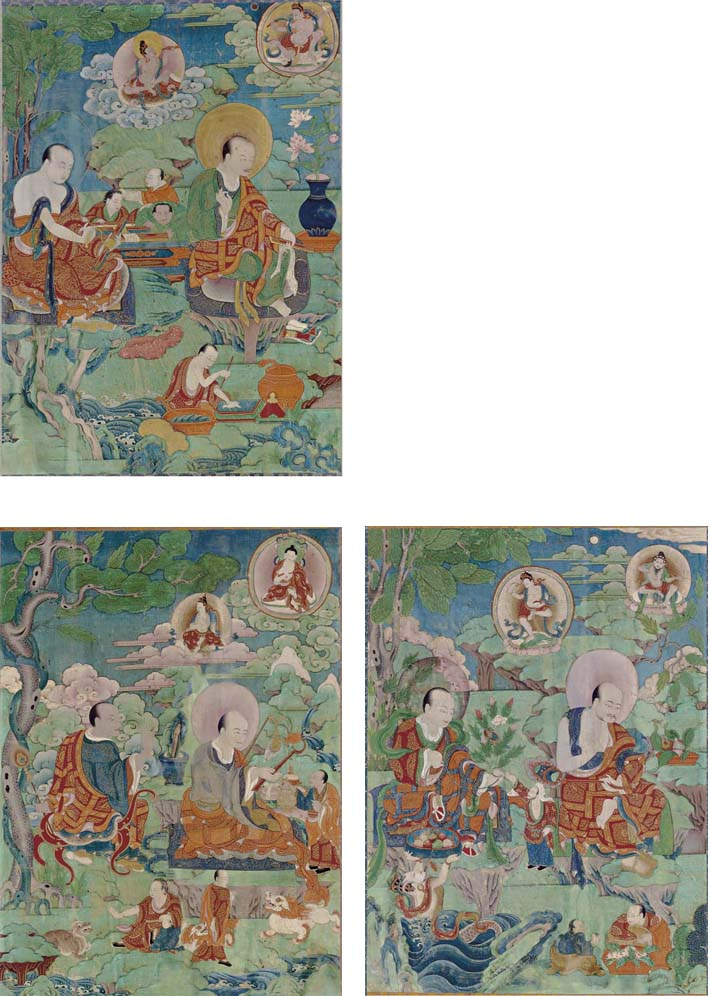 A Set of Three Thangkas with A
