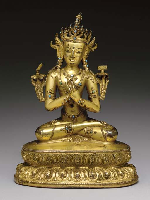 A Gilt Bronze Figure of Manjus
