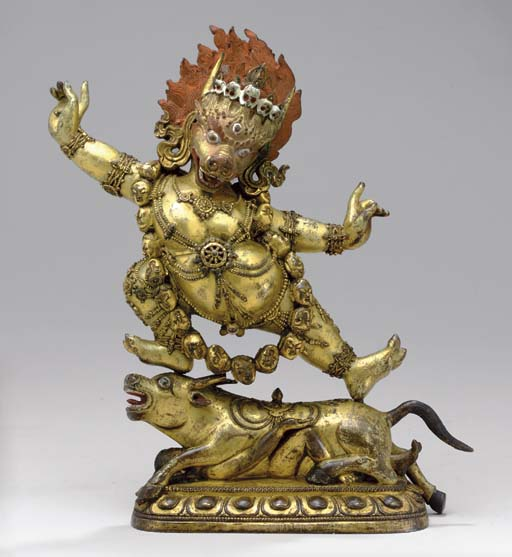 A Gilt Bronze Figure of Yama D